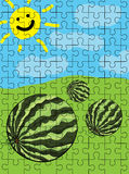 Watermelon puzzle pattern Stock Photo