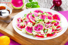 Watermelon radish with mozzarella, onion chives and basil. Top view Royalty Free Stock Images