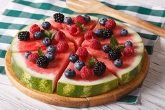 Watermelon with raspberries and blueberries close-up. Horizontal Royalty Free Stock Image
