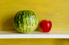 Watermelon red apple. Healthy natural fruit food Royalty Free Stock Photography