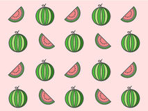 Watermelon repeat pattern on pink background Stock Photos