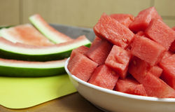 Watermelon and rind on a bench stock photos