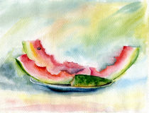 Watermelon rinds. Watermelon rinds lie on a plate. Watercolor stilllife Royalty Free Stock Photo
