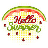 Watermelon rinds and lettering Hello Summer. Banner Hello Summer background halfton Stock Photos