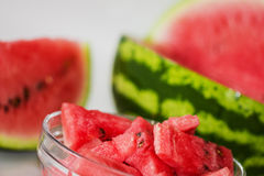 Watermelon. Ripe watermelon and slice isolated over white Royalty Free Stock Photos