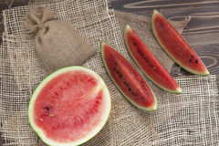 Watermelon with sack background Royalty Free Stock Image