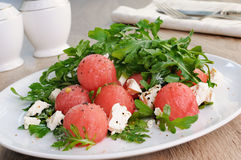Watermelon salad with arugula and feta Royalty Free Stock Image