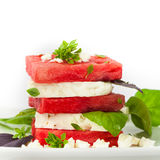 Watermelon Salad with Feta Cheese Stock Photos