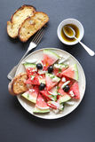 Watermelon salad with feta cheese,olives and onion Royalty Free Stock Image
