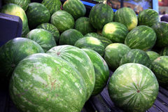 Watermelon for sale!. Truckload of watermelon for sale at farmers market royalty free stock photo