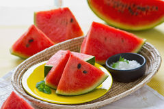 Watermelon with salt royalty free stock photos
