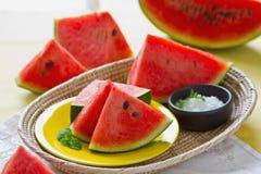 Watermelon with salt royalty free stock photos