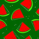 Watermelon seamless pattern. Background with fresh fruit slices. Vector illustration with organic food. Design element for surfaces, backdrops and wrapping Royalty Free Illustration