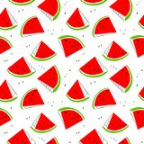 Watermelon seamless pattern. Background with fresh fruit slices. Vector illustration with organic food. Design element for surfaces, backdrops and wrapping Stock Illustration