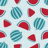 Watermelon seamless pattern on blue background. Vector illustration Stock Photography
