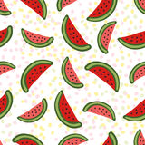 Watermelon seamless pattern. Dessert texture with Royalty Free Stock Photos