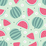 Watermelon seamless pattern with flowers on green background. Vector illustration Stock Images