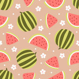 Watermelon seamless pattern with flowers on peach background. Vector illustration Stock Photos