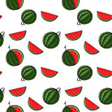 Watermelon seamless pattern by hand drawing on white backgrounds Royalty Free Stock Image