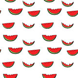 Watermelon seamless pattern by hand drawing on white backgrounds Stock Photography