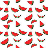 Watermelon seamless pattern by hand drawing on white backgrounds Stock Image