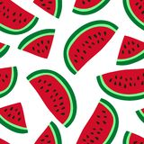 Watermelon seamless pattern. Hand drawn fresh berry. Vector sketch background. Red and green print for kitchen tablecloth, curtain. Or dishcloth. Fashion design stock illustration