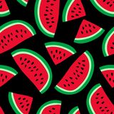 Watermelon seamless pattern. Hand drawn fresh berry. Vector sketch background. Red and green print for kitchen tablecloth, curtain. Or dishcloth. Fashion design vector illustration