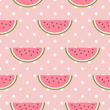 Watermelon seamless pattern with polka dot Royalty Free Stock Photos