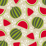 Watermelon seamless pattern with stains on beige background. Vector illustration Stock Image