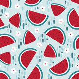Watermelon seamless pattern with stains and flowers. Vector illustration Stock Images