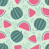Watermelon seamless pattern with stains on green background. Vector illustration Royalty Free Stock Images