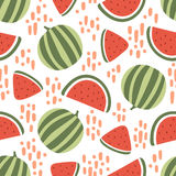 Watermelon seamless pattern with stains on white background. Vector illustration Stock Image