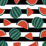 Watermelon seamless pattern on striped background. Vector illustration Royalty Free Stock Photo