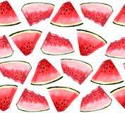 Watermelon seamless pattern. slices on a white background stock illustration