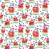 Watermelon. Seamless pattern with watermelon. Watermelon slice watercolor illustration. Stock Image