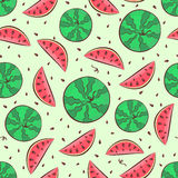 Watermelon seamless pattern with whole watermelon Royalty Free Stock Photo