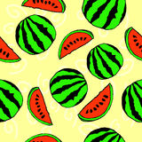 Watermelon seamless pattern. Yellow background. hand drawn royalty free illustration