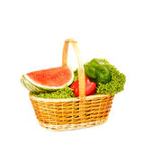 Watermelon and seasonal vegetables isolated Stock Image