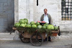 Watermelon seller in Istanbul Royalty Free Stock Photography