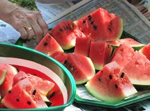 Watermelon served at a picnic Stock Photo