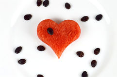 Watermelon in the shape of heart Royalty Free Stock Photography