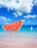 Watermelon by the shore Stock Photo