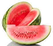 Watermelon and slice. On white background Stock Image