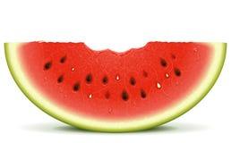 Watermelon slice bite. Juicy watermelon slice with a bite Stock Photos