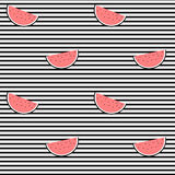 Watermelon slice on black and white stripes seamless pattern background illustration Stock Image