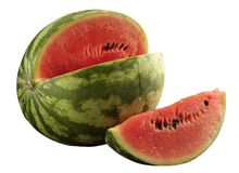 Watermelon with slice - clipping path. Watermelon with slice on white background - clipping path Royalty Free Stock Photo