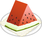 Watermelon slice on dish Stock Photo