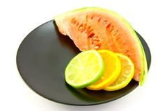 Watermelon with Slice of Lemon, Lime and Orange Stock Photos