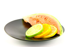 Watermelon with Slice of Lemon, Lime and Orange Stock Photography