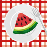 Watermelon slice over plate with fork and checkered tablecloth. Illustration eps 10 Stock Images